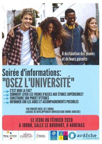 """Soirée d'informations : """"Osez l'université """" - Aubenas"""