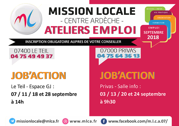 affiche job'Action Privas le Teil 2018